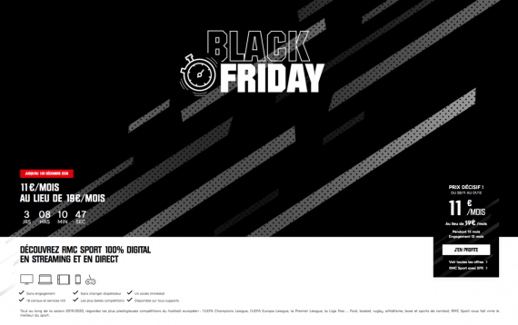 RMC Sport : promotion pour le Black Friday 2019