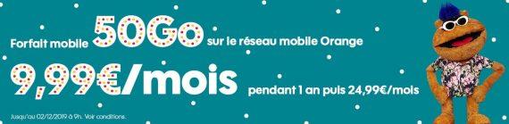 Sosh : promotion sur le forfait mobile 50 Go (novembre / décembre 2019)