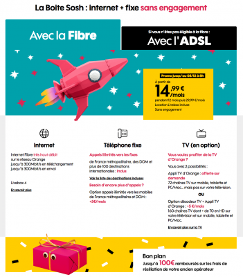 """Sosh : """"La Boîte Sosh"""", la box ADSL ou fibre optique en promotion (novembre / décembre 2019)"""