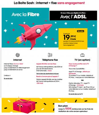 """Sosh : """"La Boîte Sosh"""" fibre optique en promotion (Noël 2019)"""
