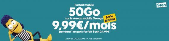 Sosh : promotion sur un forfait mobile 50 Go en série limitée (janvier / février 2020)