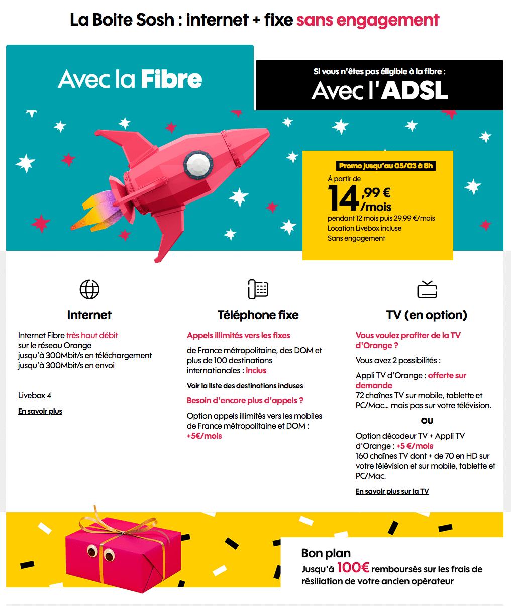 """Sosh : """"La Boîte Sosh"""", la box ADSL ou fibre optique en promotion (février / mars 2020)"""