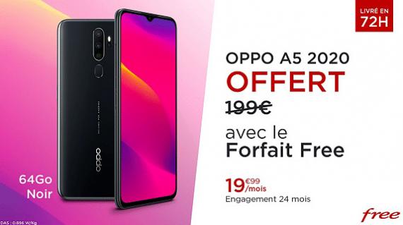 Vente privée Free mobile forfait 100 Go : détails du smartphone OPPO A5 2020 64 Go offert (mars 2020)