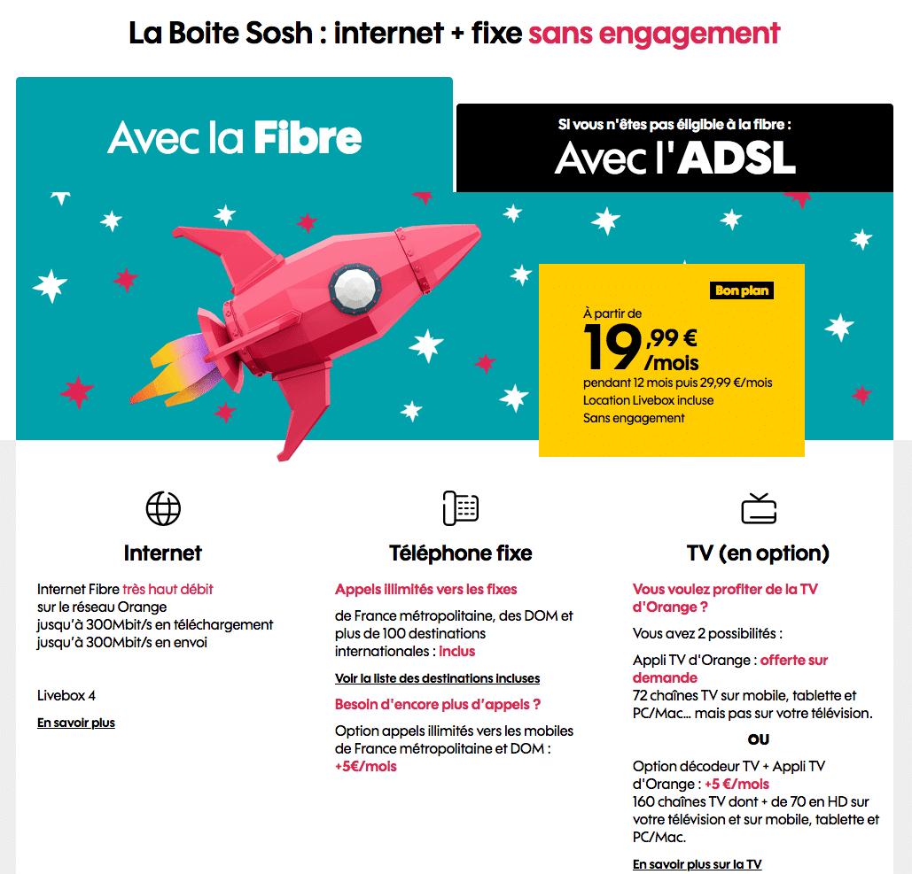 "Sosh : ""La Boîte Sosh"", la box fibre optique en promotion (avril / mai 2020)"