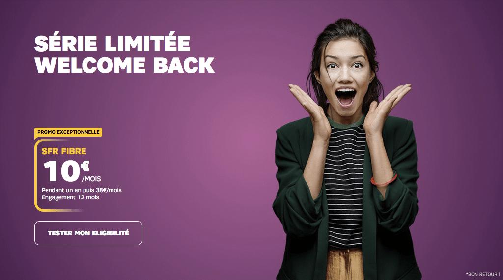"""SFR : la box internet en promotion avec la série limitée """"Welcome Back"""" à 10 euros par mois (mai / juin 2020)"""