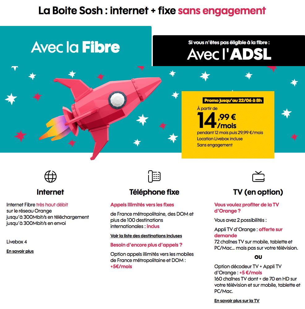 """Sosh : """"La Boîte Sosh"""", la box ADSL ou fibre optique en promotion (mai / juin 2020)"""