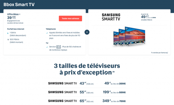 Bouygues Telecom : les tarifs de la Bbox Smart TV de Samsung