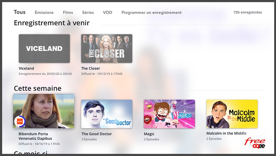 Freebox POP de Free : enregistrements programmés (OQEE)