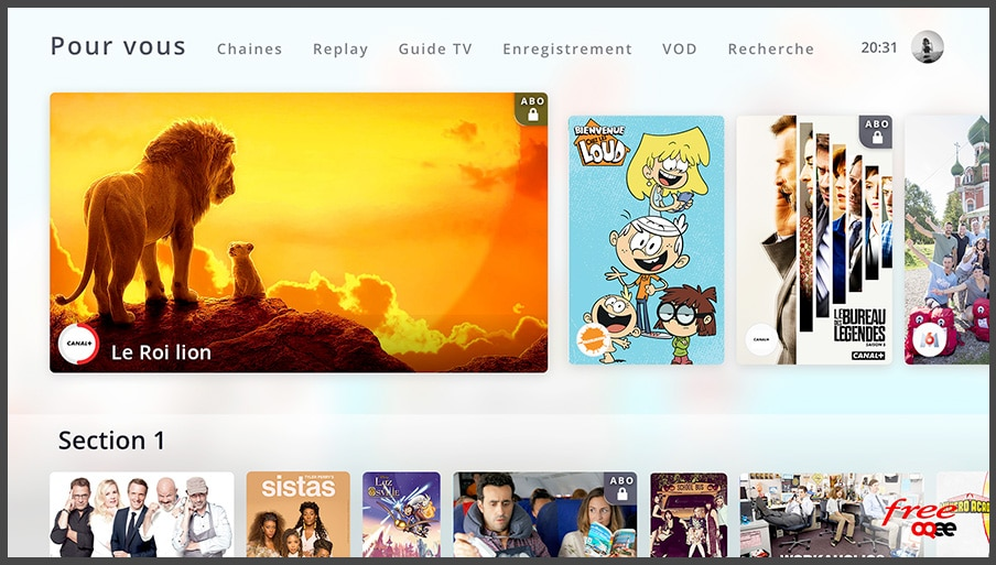 Freebox POP de Free : interface TV (OQEE)