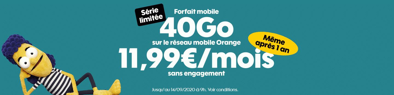 Sosh : promotion sur le forfait mobile 40 Go (août / septembre 2020)