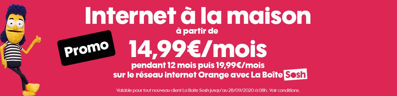 """Sosh : promotion sur """"La Boîte Sosh"""", la box ADSL ou fibre optique (septembre 2020)"""