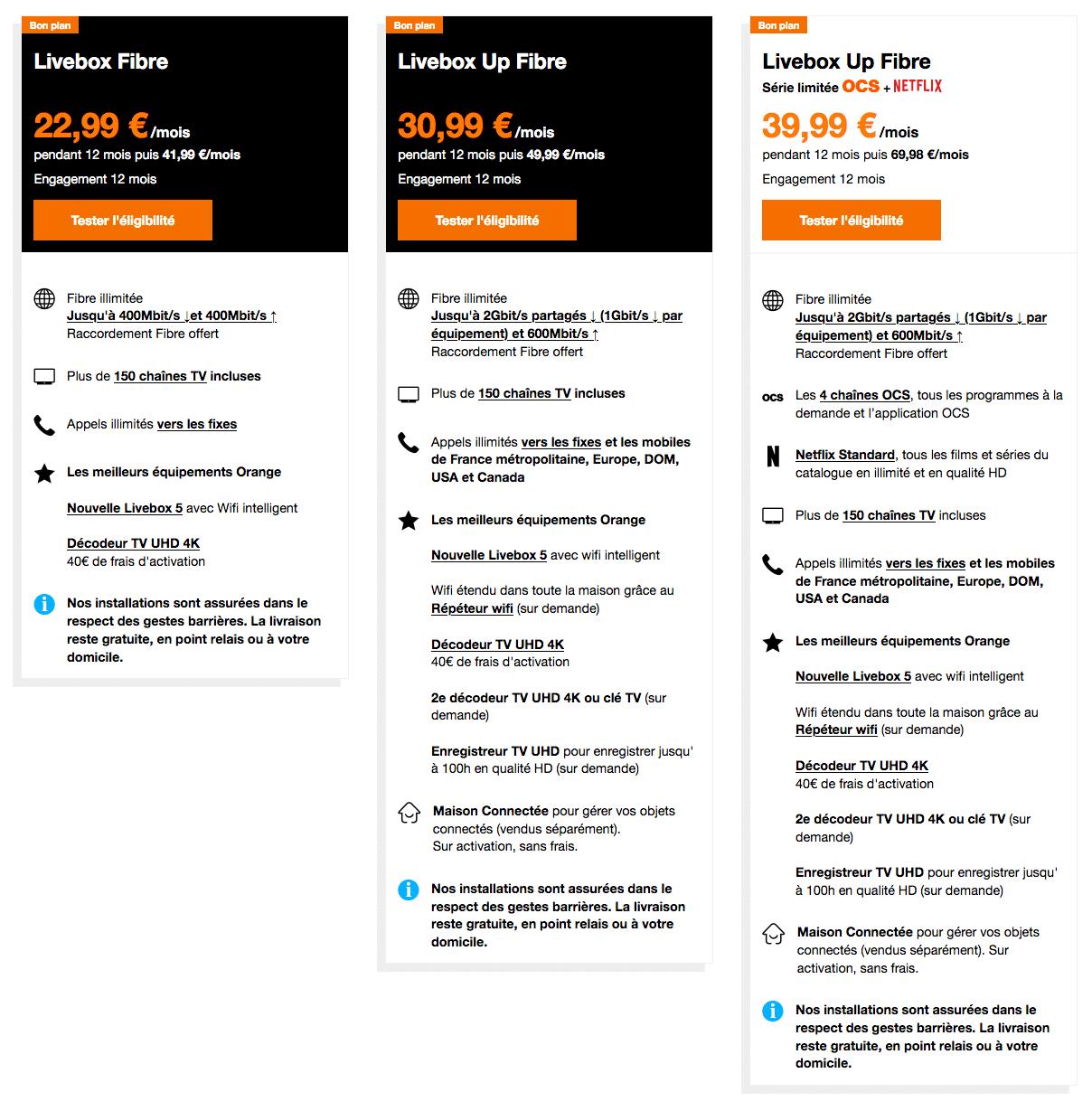 Orange : gamme Livebox fibre optique en promotion (Noël 2020)