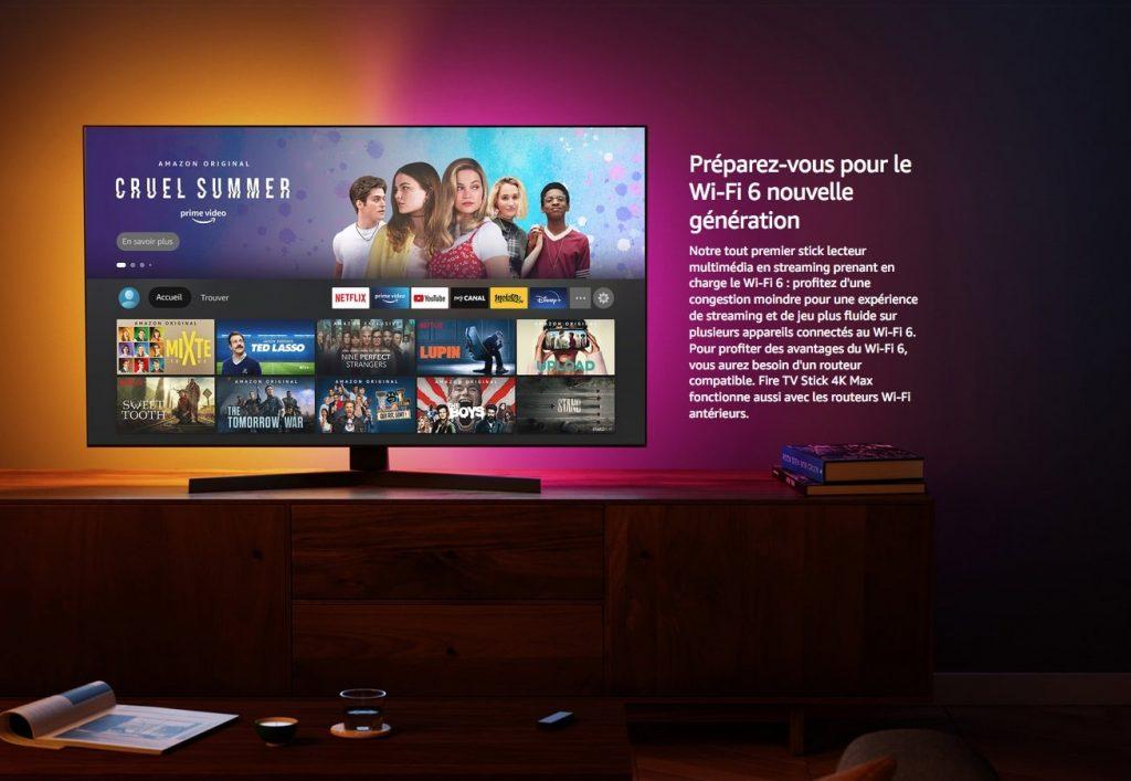 Interface du Fire TV Stick d'Amazon (compatible Wi-Fi 6)