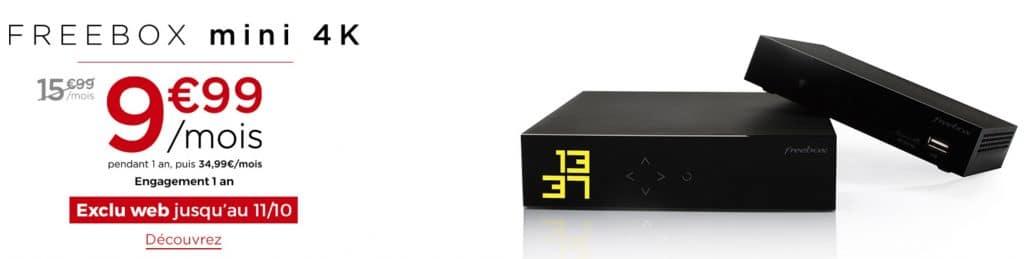 Free : la Freebox mini 4k en promotion à 9,99 euros par mois pendant 1 an