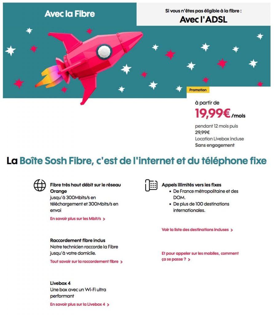 """Sosh : """"La Boîte Sosh"""" fibre optique en promotion (octobre / novembre 2021)"""